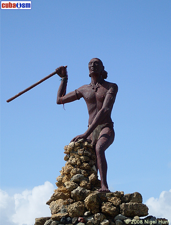 Guama Statue facing Fort La Punta in Baracoa
